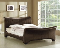 Wave Faux Leather Bed Frame in Double, King or Super King with Choice of Mattress