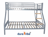DuraTribe Triple Sleeper Metal Bunk Bed in Silver Colour