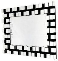 Black and Clear Glass Block Wall Mirror