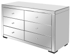 Elegant Mirrored Chest of 6 Drawers