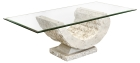 Mactan Stone Coral Sea Coffee Table with Bevelled Glass Top