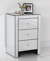 Stunning Mirrored 3 Drawer Bedside Table/ Bedside Cabinet