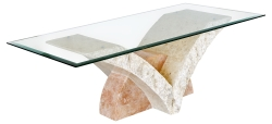 Mactan Stone Uranie Coffee Table with Bevelled Glass Top