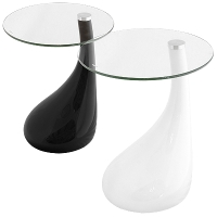 Nebula Glass Side Table in Black or White Base