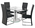 Oval Extending Glass Dining Table with Chrome Plated Pedestal Support