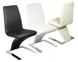 Carrello PVC Dining Chair in Black, Cream and White Colour