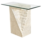 Mactan Stone Athens Pedestal Table with Glass Top