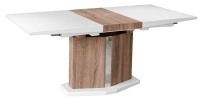 High Gloss Drfiter Extending Dining Table with Oak Effect Central Base
