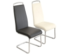 Handleback Steel Base Upholstered Leather Dining Chair in Black or White