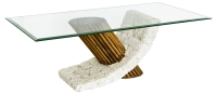 Mactan Stone Bamby Coffee Table with Bevelled Glass Top