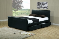 Houston Faux Leather Bed in Double or King with 4 Drawer Storage + Choice of Mattress