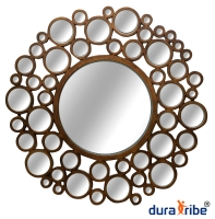 Designer Juliette Wall Mirror with Bevelled Glass - Large Size Round Wall-Mounted Mirror - 100 cm Di