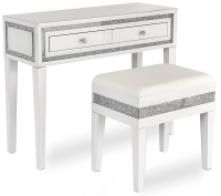 Snow Pearl white mirrored dressing table and stool