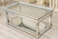 Antique Silver Mirrored Coffee table with Glass top