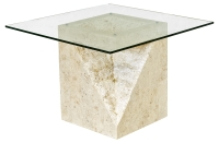 Mactan Stone Athens End or Lamp Table with Glass Table Top