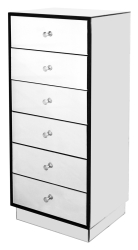 Facinating Tall Mirrored 6 Drawer Unit