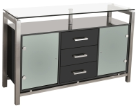 Glass Top Black Gloss Sideboard