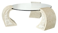 Mactan Stone Poseidon Coffee Table with Round Glass Top