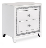 Snow Pearl white mirrored two drawer bedside