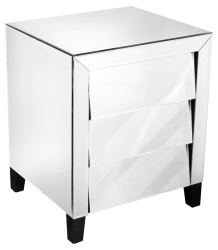 Three Drawer Handle-less Angled Mirrored Bedside Table