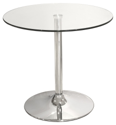 80cm Clear Glass Top Bistro Table/ Dining Table for Small Spaces