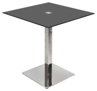 Black Glass Square Dining Table in Black or Clear Top