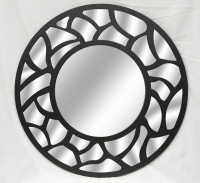Okinawa Wall Mirror with Bevelled Glass - Large Size Round Wall-Mounted Mirror - 80 cm Diameter