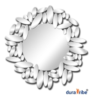 Designer Omero Wall Mirror with Bevelled Glass - Large Size Round Wall-Mounted Mirror - 79 cm Diamet