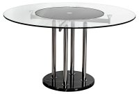 Clear Glass Lazy Suzan Round Dining Table with Black Cent