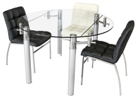 Alicia round extending glass dining table