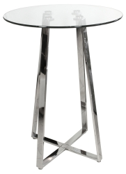 Glass Top Poseur Table with Chrome Base