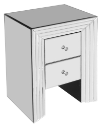 Elegant Mirrored 2 Drawer Bedside Unit