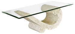 Mactan Stone Sea crest Coffee Table with Bevelled Glass Top