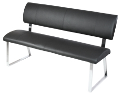 Triple Diner Bench with Padded Seat & Backrest in Black or Cream
