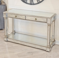 Antique Silver Mirrored 2 Drawer Console Table- Style and Storage