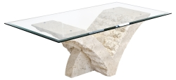 Stylish Mactan Stone Seagull Coffee Table with Bevelled Glass Top