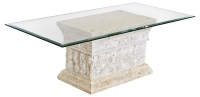 Mactan Stone Marina Coffee Table with Tempered Glass Top