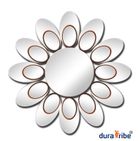 Blossom Wall Mirror - Designer Bevelled Round Mirror - Large Size Round Wall-Mounted Mirror - 80 cm